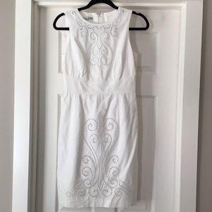 White summer cotton linen dress